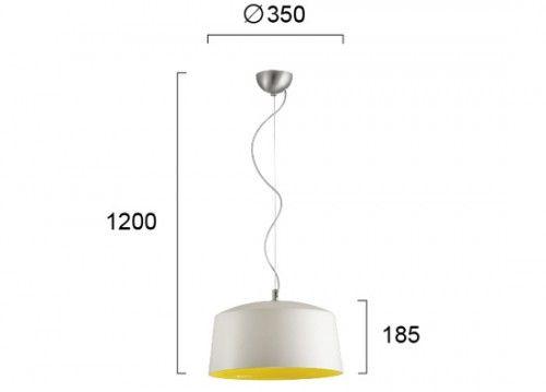 Κρεμαστό φωτιστικό λευκό-κίτρινο Φ35