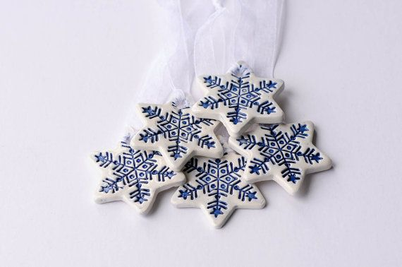 White ceramic Christmas decorations, star ornament, Set of 5