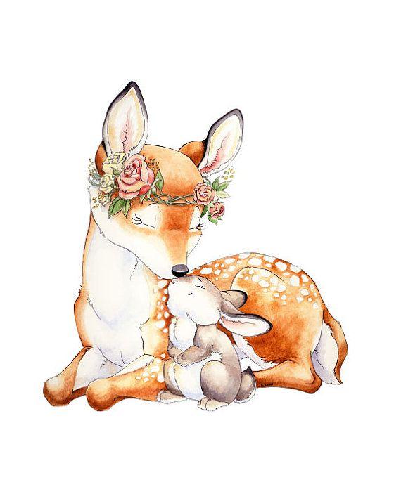 Fawn Wall Art, Baby Bunny Art, Deer Nursery, Fawn, Woodland Nursery, Watercolor Nursery, Nursery Decor, Nursery Art, Baby Shower Gift