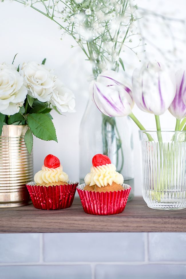 These easy and cheerful cherry vanilla cupcakes Red Nose Day cupcakes are pefect for baking with children.