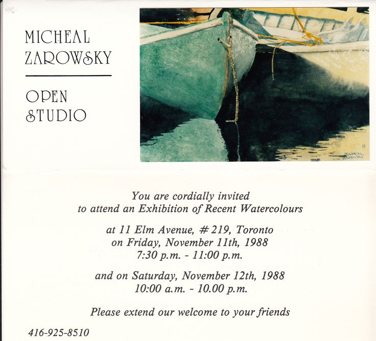 zarowsky east coast watercolours 1988 at elm avenue studio toronto