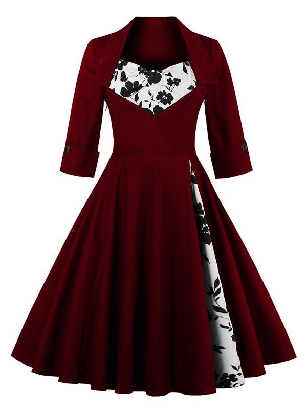 Floral Print Paneled Swing Dress