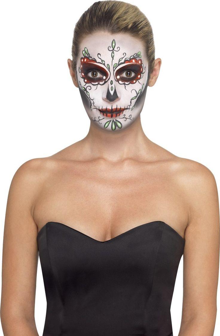 Questo kit di trucco scheletro Dia de los Muertos contiene trucco ad acqua per viso, 1 matita nera, tatuaggi temporanei, degli applicatori e una spugnetta. Questo kit sarà perfetto per completare e rifinire un travestimento in occasione della festa di Halloween o per serate a tema.