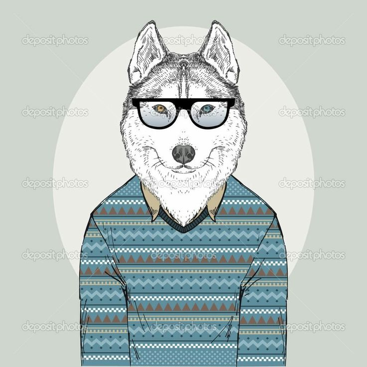 Hand Drawn Fashion Illustration Of Husky Hipster In Jacquard Pullover