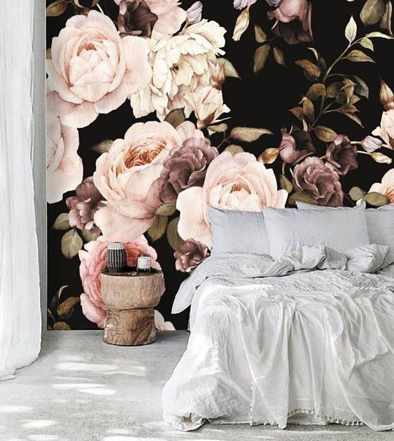 Dutch dark vintage floral removable wallpaper, wall mural, floral wallpaper, self adhesive, temporary mural, floral mural, peel & stick, #85