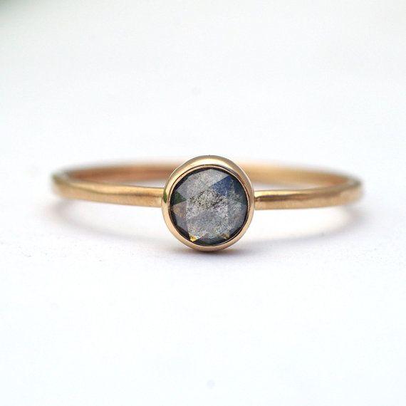 Light Grey Rose Cut Diamond Engagement Ring by KyleAnneMetals