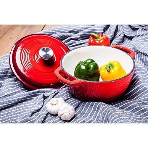 Enameled Cast Iron Dutch Oven Round Red Kitchen Cookware Cooking Pot Lid 3.2 Qt #EnameledCastIronDutchOven