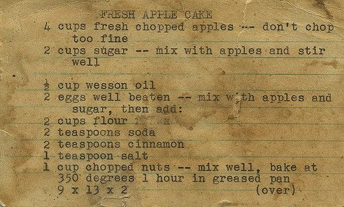 this is a recipe my mother got from her mother, who probably got it from her mother and etc. we have apple trees in our backyard and my mom always hunts down this recipe card to make the apple cake, even though im sure she knows it by heart.