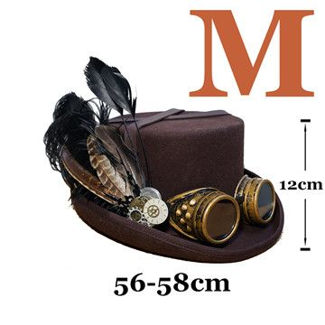 Steam Punk Vintage Wood Fedora Feather Millinery Google Cosplay Hat