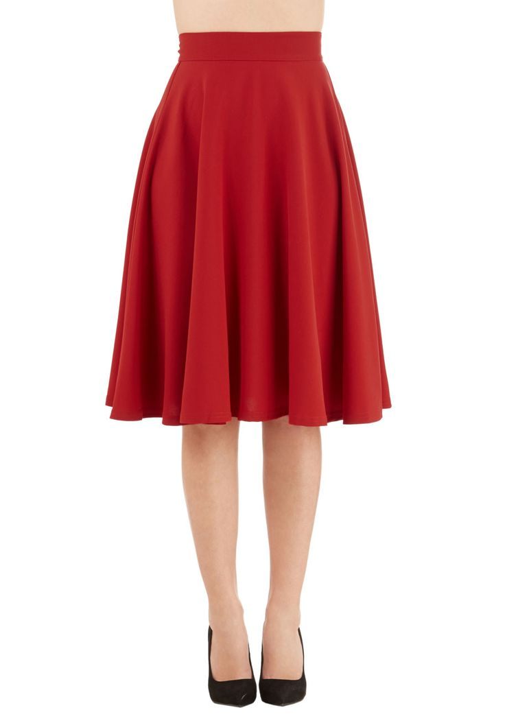 Bugle Joy Skirt in Scarlet. You hear your friends truck horn toot outside your window - your trumpet call to scoot this A-line skirt out the door and hop in! #red #modcloth