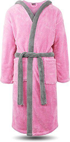 629eb5f19f2984 normani Flauschiger Fleece Bademantel mit Kapuze und Taschen Oeko-Tex 100  Farbe Rosa/Silber