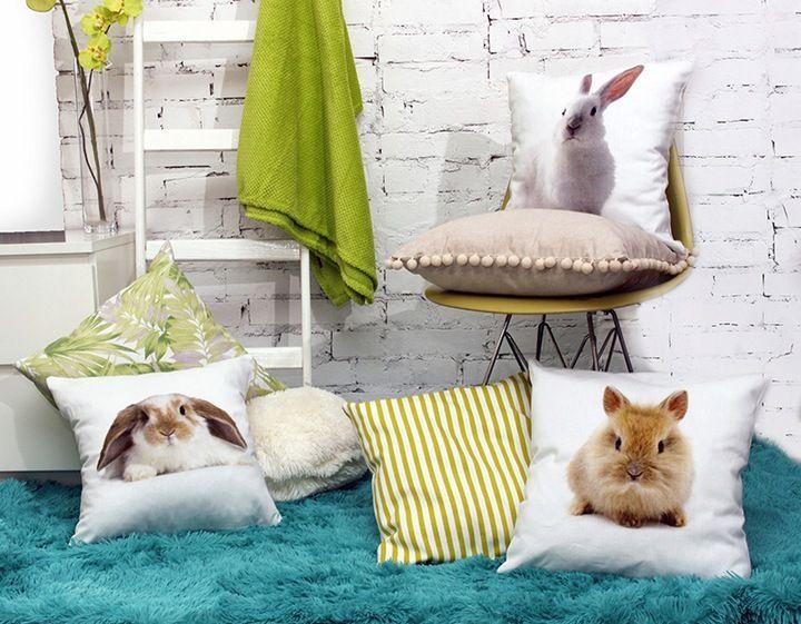 Poszewka Poduszka 45x45 Bawelna Kroliki Pillows Throw Blanket Throw Pillows