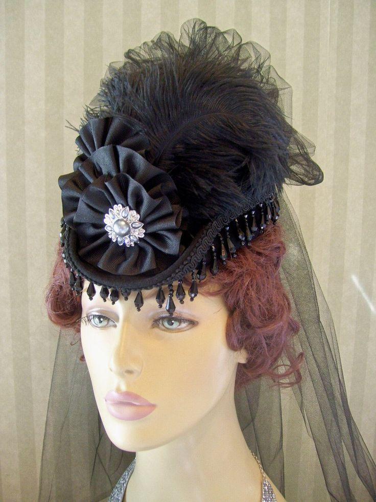steampunk hats for women | Mini Riding Hat Steampunk Hat Mini Top Hat Halloween Hat Lolita Civil ...