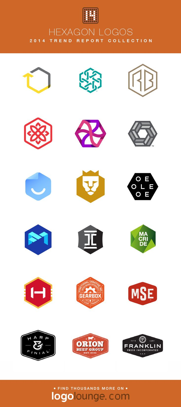 2014 Logolounge Trend Report Collection Hexagon Logos These