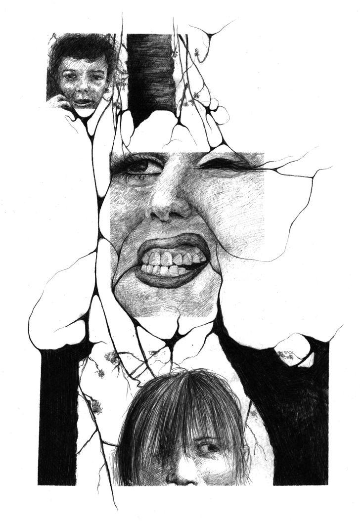 Salomé Pia, Infiltration n°2, 21x29,7 cm, crayon bic, 2014.