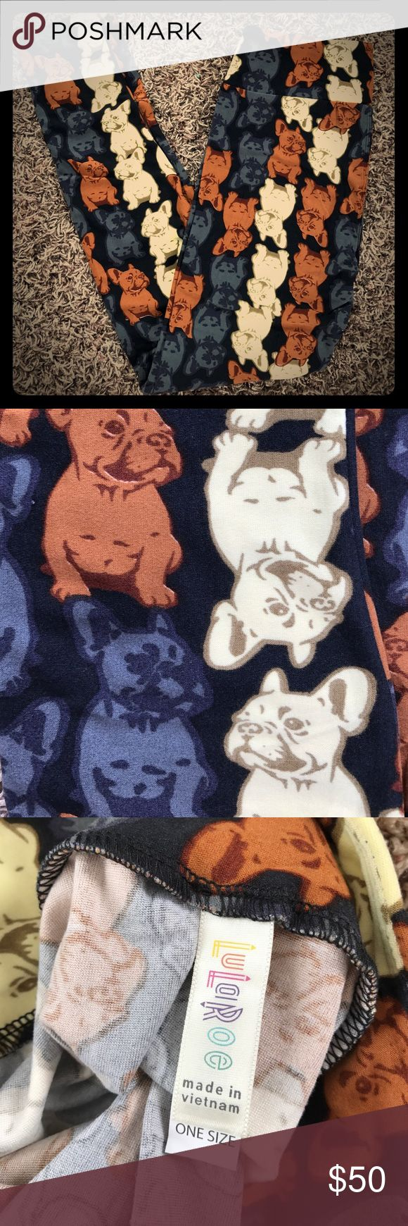 🦄 French Bulldog Leggings 🦄 LOWEST PRICE ON POSHMARK for these leggings. Cutest bulldog leggings ever! These are BNWT, never even tried on. They have a black background, with cream, brown, and gray puppies. Hard to find print...these sell fast! I bought a few too many, and need to downsize my collection. LuLaRoe Pants Leggings