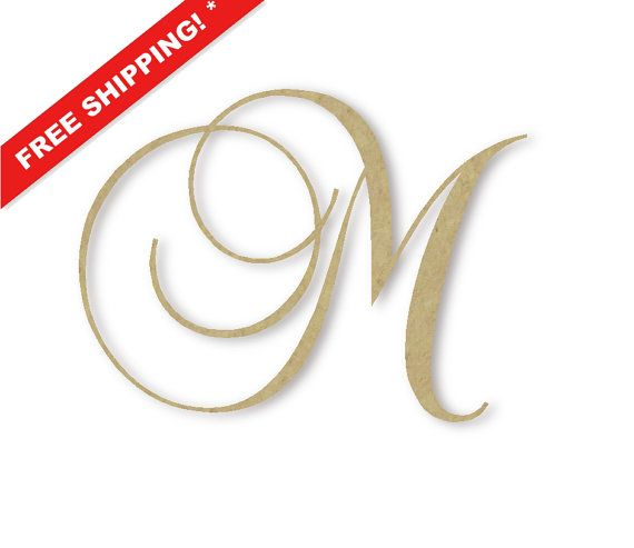 """Wooden Monogram Letter """"M"""" - Large or Small, Unfinished, Cursive Wood ..."""