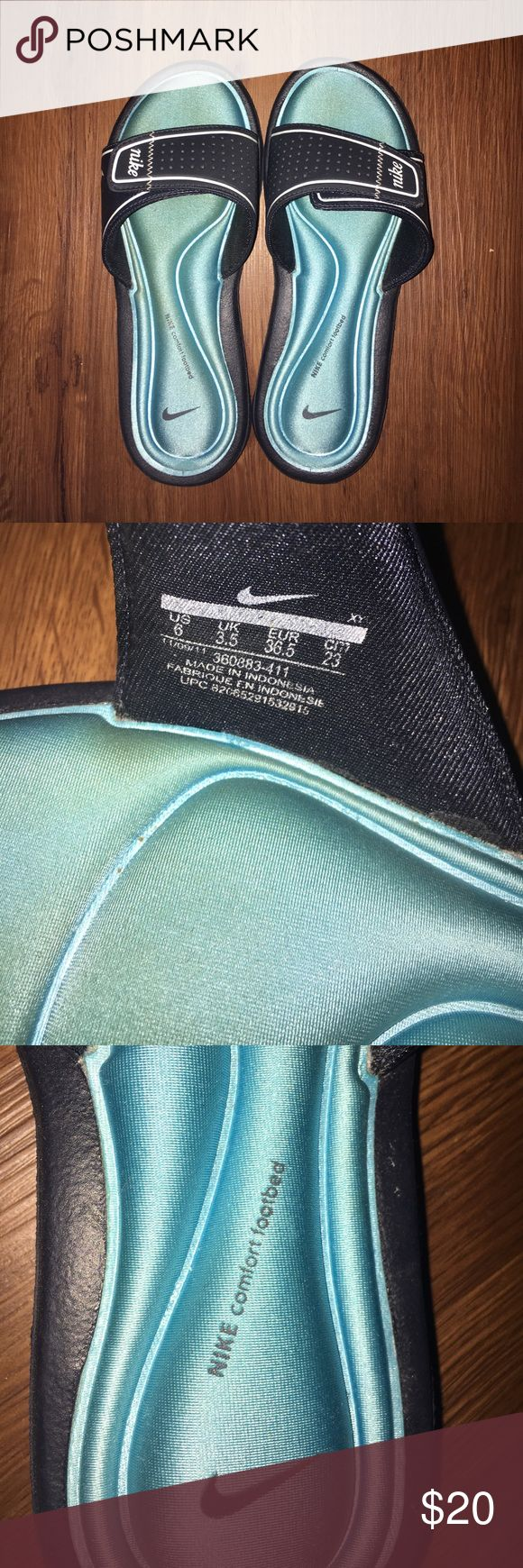 Nike Comfort Footbed sandals size 6 Blue Nike sandals with comfort super squishy footbed. Size 6. Slip on but also has a Velcro adjustable strap. Excellent condition, barely worn! Nike Shoes Sandals
