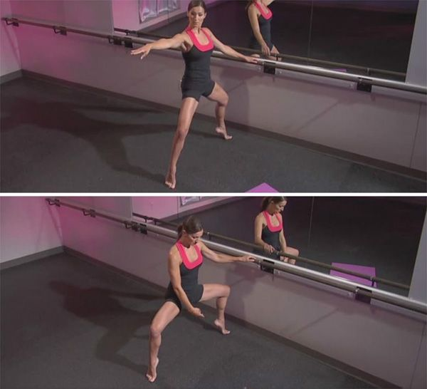 Accent de trois in plie releve: 1.Stand in a wide 2nd position, with heels lifted. 2.Lower into a plie position over 3 counts. Return to the starting position over 3 counts. Do 8 sets.