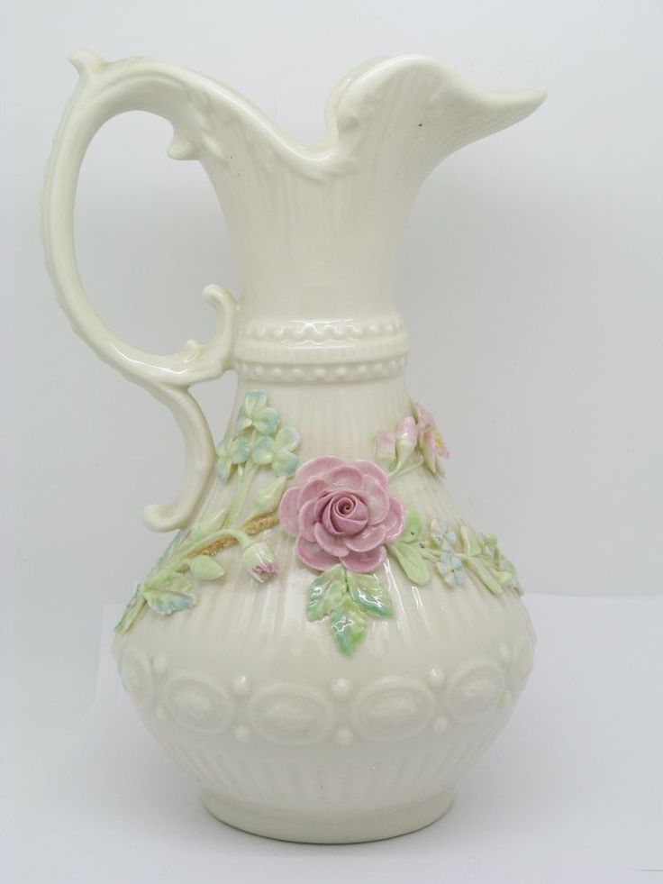 Beautiful Belleek Rose Pitcher With Gold Mark Just Old Stuff Belleek China China Dinnerware