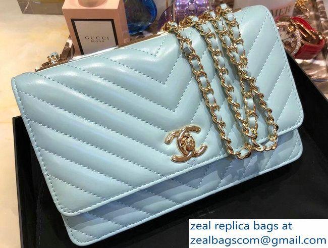 b2a77027641 Chanel Lambskin Chevron Trendy CC Wallet On Chain WOC Bag A84456 Light Blue  2018