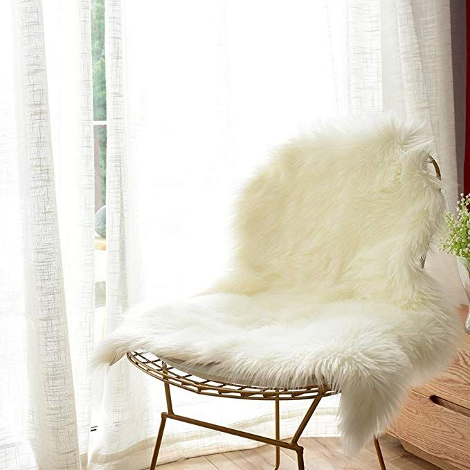 Cuteshower Soft Faux Sheepskin Chair Cover Rug Carpet With Super Fluffy Thick Fur For Bedroom Sofa Floor Amazon Home Decor Sheepskin Chair Luxury Chair Covers