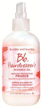 BUMBLE & BUMBLE - Primer που δίνει απαλότητα σε κάθε τύπο ξηρών μαλλιών. Αυτό το απαλό σαν πέπλο, μείγμα 6 ελαίων, εξαφανίζεται στα μαλλιά για να τα λειάνει, να δαμάσει το φριζάρισμα και να τα προστατέψει από τη θερμότητα του styling και τις ακτίνες του ήλιου (φίλτρα UV).