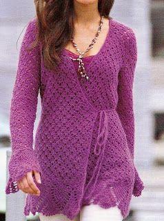 Chaqueta cruzada en color morado crochet pattern