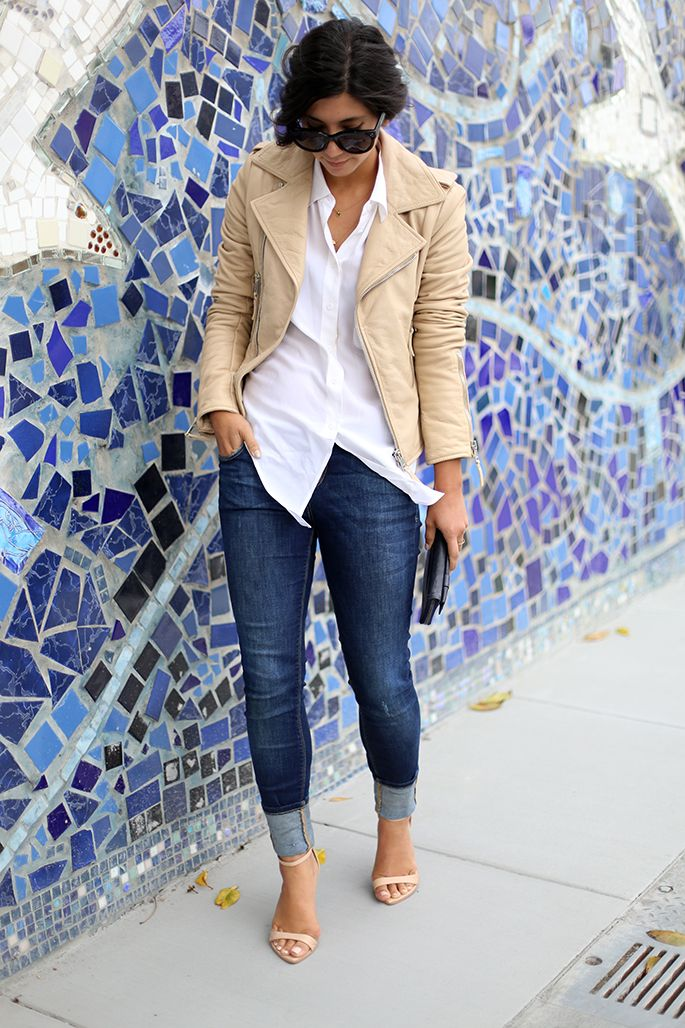 Loving the cuffed jeans look these days. And I need a light colored leather jacket. Check out her blog, This Time Tomorrow