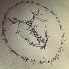 anchor design with script tattoo: you be the anchor that keeps my feet on the ground ill be the wings that keep your heart in the clouds ... LOVE