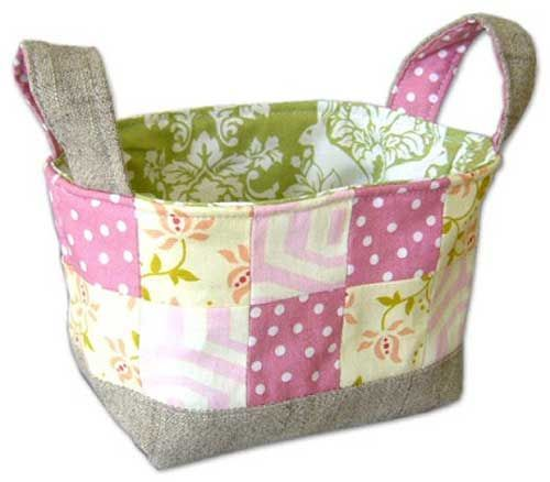 This patchwork fabric basket is easy to make using fat eighths, and is made even more useful because it has handles which means you can lift and move it around easily.