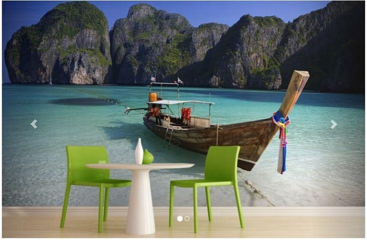 3D стереоскопический росписи обоев таиланд пляж лодка образным для гостиной телевизор фоне…