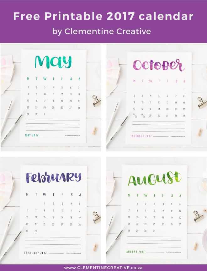 Free Printable {Hand Lettered} 2017 Calendar