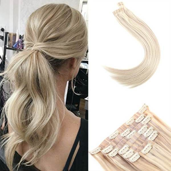 Seamless Pu Clip In Human Hair Extensions Ash Blonde Highlight