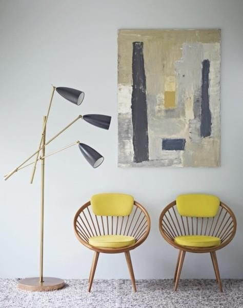 Colour scheme; monochrome, acid yellow and naturals - very retro.