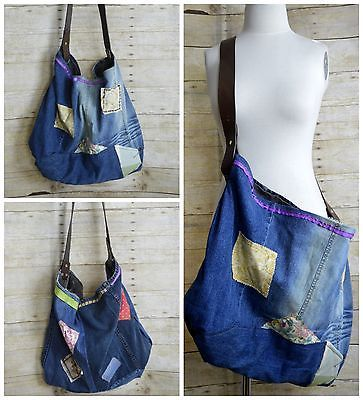 Upcycled-Tote-Recycled-Jeans-Messenger-Bag-Leather-Belt-Strap-Funky-Hippie-XL