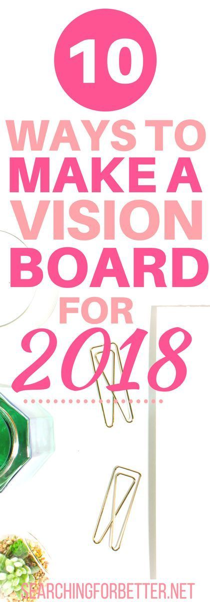 10 Ideas To Make A Vision Board For 2018. With the start of the new year, I read this at the perfect time!! I can't wait to get started. This article has so much #inspiration and #ideas on how to create a vision board!! If you're looking for a way to stay