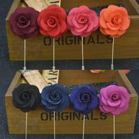 Men's Handmade Flower Brooch Lapel Pin Suit Boutonniere Button Stick Brooches for Wedding Party Accessorie