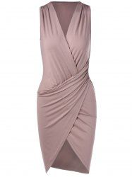 Elegant V-Neck Sleeveless Pleating Fitted Party Dress For Women in Nude Pink | Sammydress.com Mobile