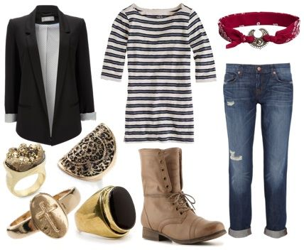 This outfit is great if you're heading to class or just hanging out with friends. The striped top and bandanna headband give a nautical feel to the outfit. Add a blazer, boyfriend jeans, and boots for a practical look. To keep the outfit from being too masculine and to add a bold punch to an otherwise-safe outfit, pile on the statement rings. I especially love the cross and medallion rings; they seem especially pirate-y.