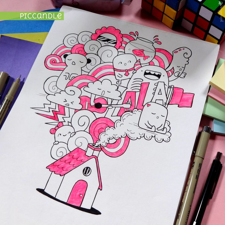 House Doodle by Pic Candle : piccandle.tumblr.com #doodle #pink #drawing