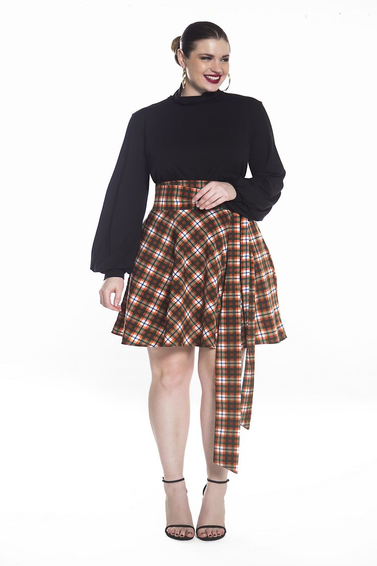 JIBRI PLAID HIGH WAIST MINI SWING SKIRT