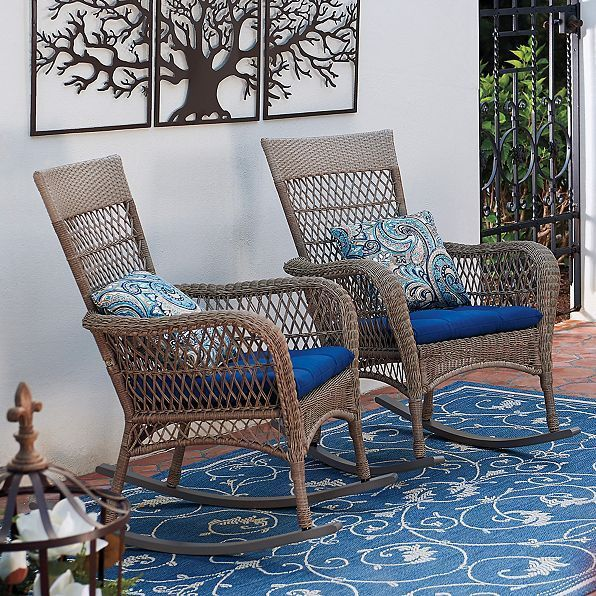 Traditional Outdoor Wicker Rocking Chair Porch Rocker Patio Furniture 2  Colors In Home U0026 Garden,