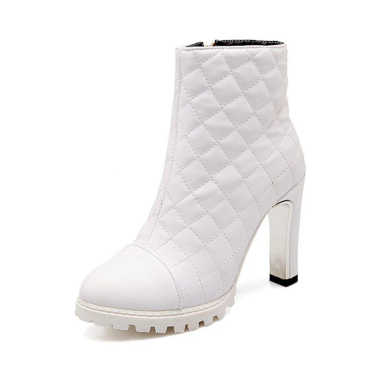Туфли На Каблуках Женщина Черный Белый 2016 Круглый носок Квадратный Каблук Платформа Туфли На Высоком Каблуке женские Ботильоны ботинки Снега сапоги