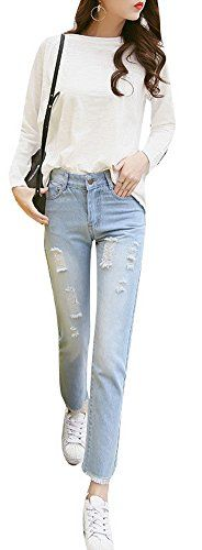 New Trending Denim: xiaoming Womens Casual Ripped Jean Slim Fit Straight Washed Denim Pants Blue. xiaoming Women's Casual Ripped Jean Slim Fit Straight Washed Denim Pants Blue  Special Offer: $29.32  222 Reviews Notes:1.Asian size,we suggest you choose one size up;2.Color differences allowed for light effects;3.Shipped by USPS,takes 8-15 days for delivery. Size...
