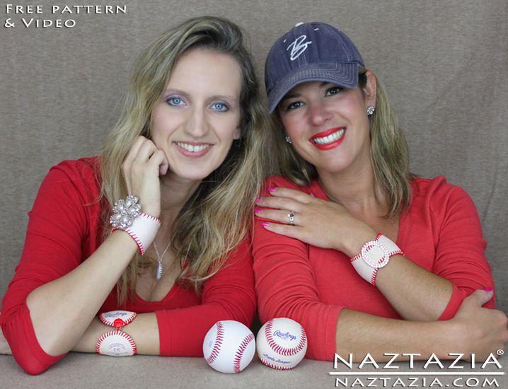 DIY Free Pattern Baseball Cuff Bracelet Leather Baseballs Bracelets with YouTube Tutorial Video by Naztazia