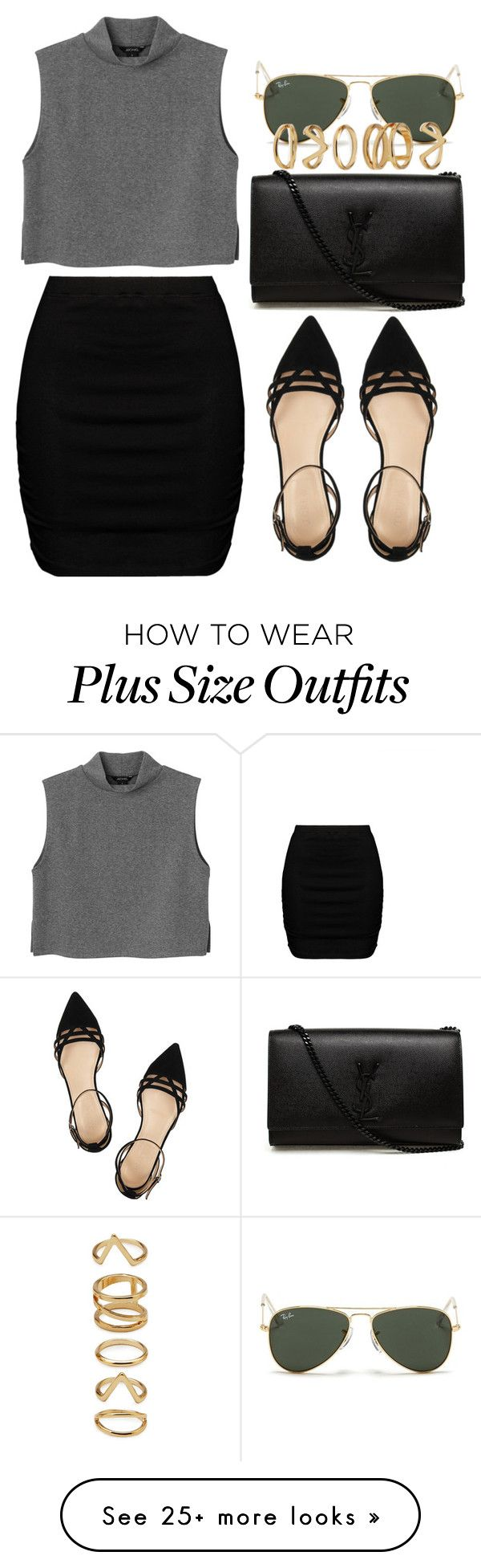 """Untitled #308"" by kaylan-jayne on Polyvore featuring Yves Saint Laurent, Monki, Zizzi, J.Crew, Ray-Ban and Forever 21"