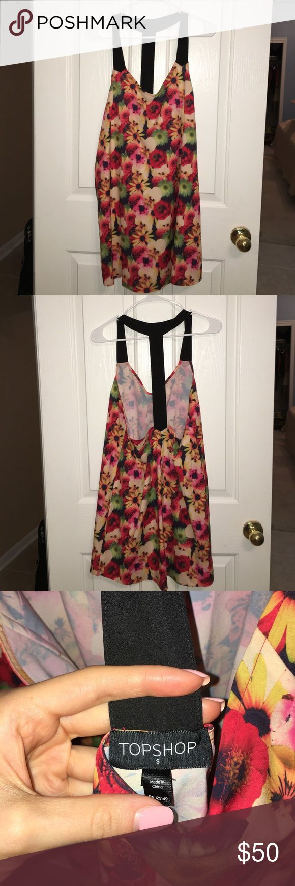 TOPSHOP floral t-back dress SALE Size small TOPSHOP floral, t back dress! Cute cute! Could also fit a medium bc it's very loose Topshop Dresses