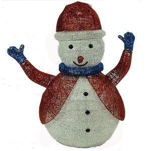 Φωτιζόμενος Χιονάνθρωπος 80cm με κόκκινο σακάκι και σκουφί