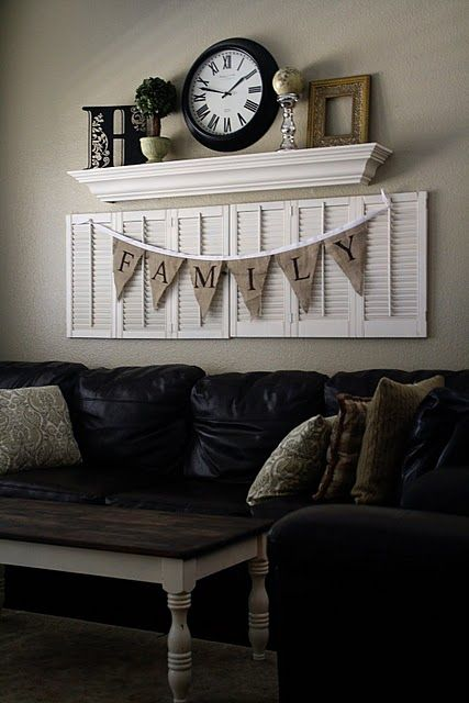 really like these shutters and the burlap banner...and the shelf